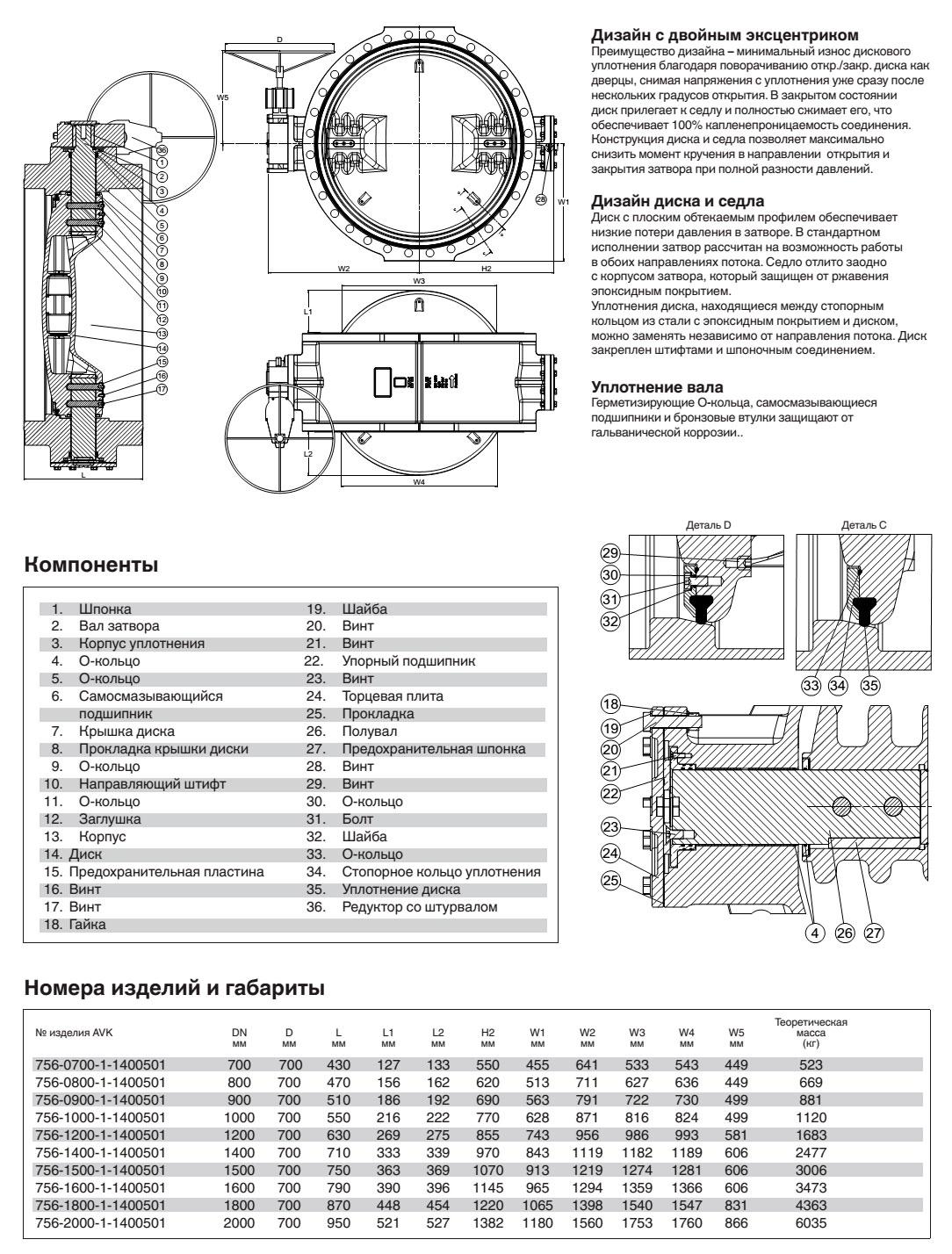 AVK затвор дисковый поворотный, PN 16, с встроенным седлом и редуктором IP68 с индикатором положения