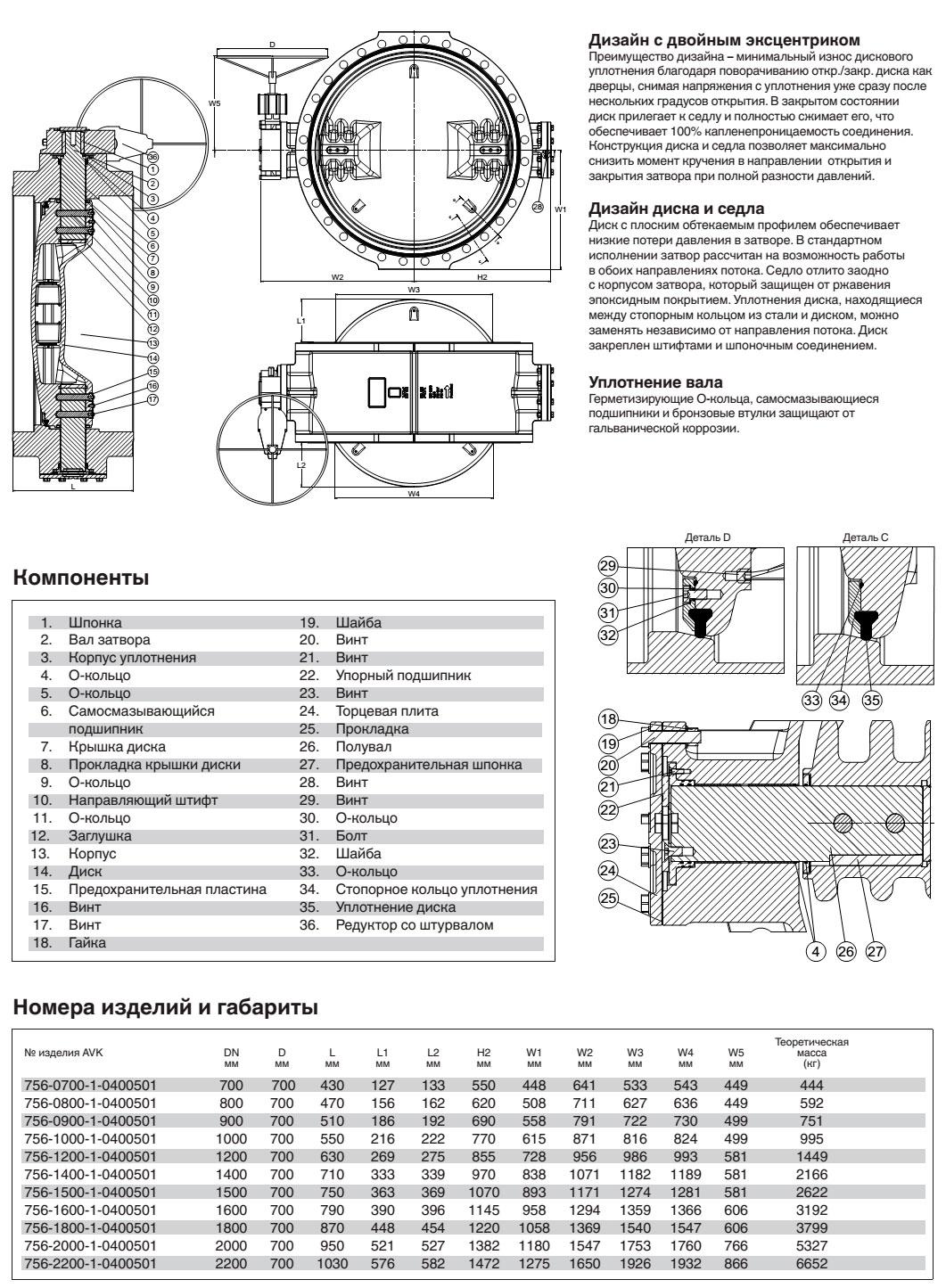 AVK затвор дисковый поворотный, PN 10, с встроенным седлом и редуктором IP68 с индикатором положения