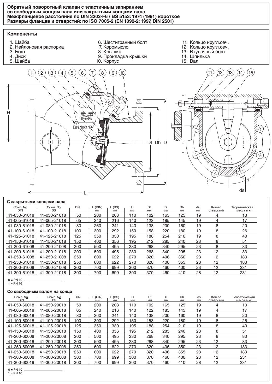 Клапан AVK обратный поворотный PN 10 или PN 16