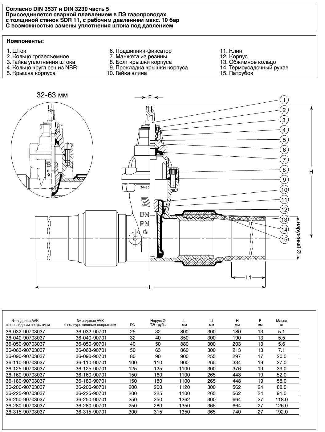 AVK задвижка для распределительных сетей природного газа, PN 10, с ПЭ патрубками