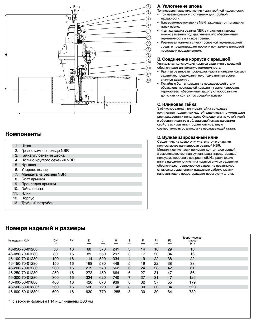 AVK задвижка клиновая со сварными концами, PN 16