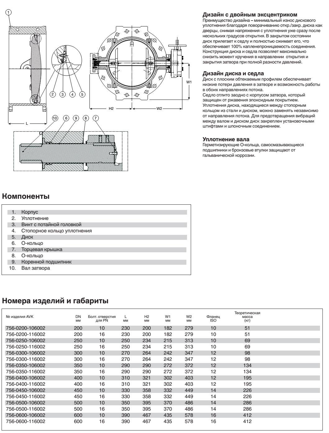 AVK затвор дисковый поворотный, PN 10/16